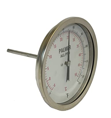 Palmer 5BCP650 300F C All Pro Welded Stainless Steel 304 Dual Scale Bimetal Thermometer, 50 300 F and 10 150 C Range, 5 Dial, 6 Stem, 1 2 NPT Connection, Back Mount