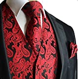 Image of Men's 3pc Paisley Vest (L (Chest 44), Red/Black)