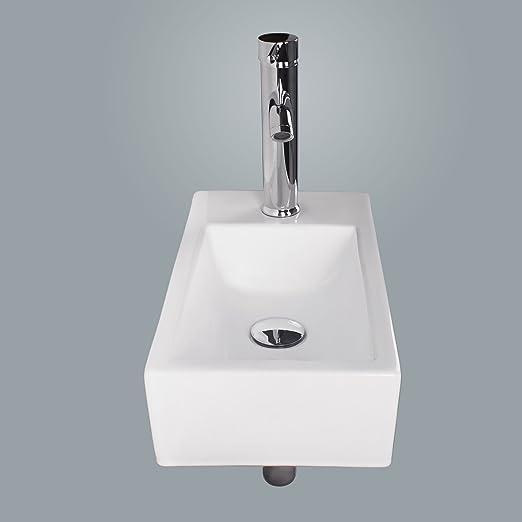 Walcut USBR1031 Bathroom Wall Mount Rectangle White Porcelain Ceramic Vessel  Sink U0026 Chrome Faucet Combo     Amazon.com
