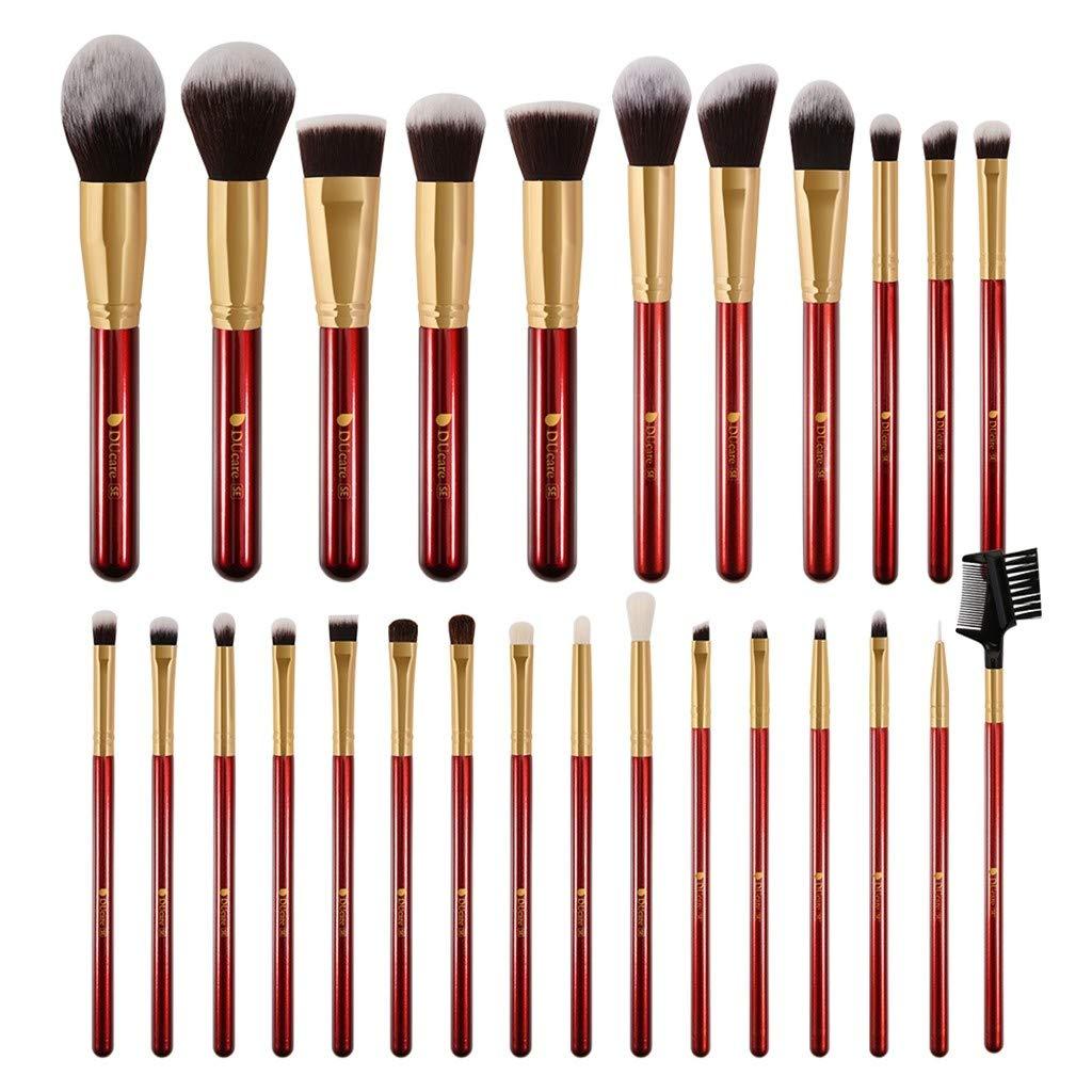 Hemgk 27 Pcs Red Makeup Brush Powder Eye Shadow Makeup Brush Set (red)