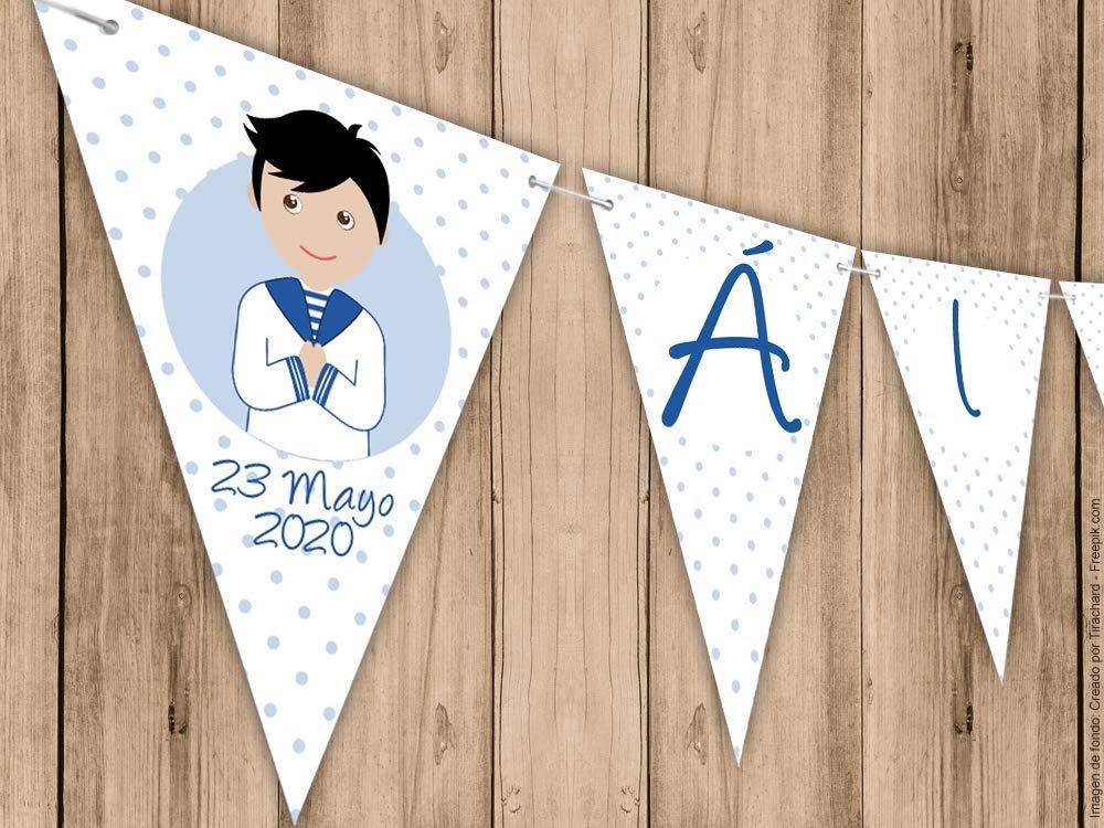 Guirnalda Mi Primera Comunión niño con traje marinero. Guirnalda decorativa. Banderines para fiestas.