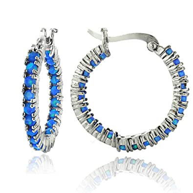 8591ac6ae277c Sterling Silver Created Opal Inside Out Hoop Earrings