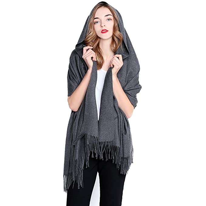 REEMONDE Womens Super Soft Long Shawl Solid Colors Warm Pashmina Big Scarf (Dark Grey)
