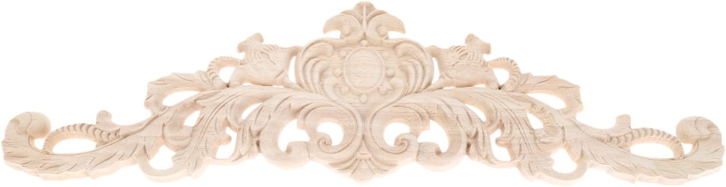 LERMO 1Pc Wood Carved Onlay Long Applique for Home Furniture Door Cabinet Bed Unpainted Decorations (40x12cm)