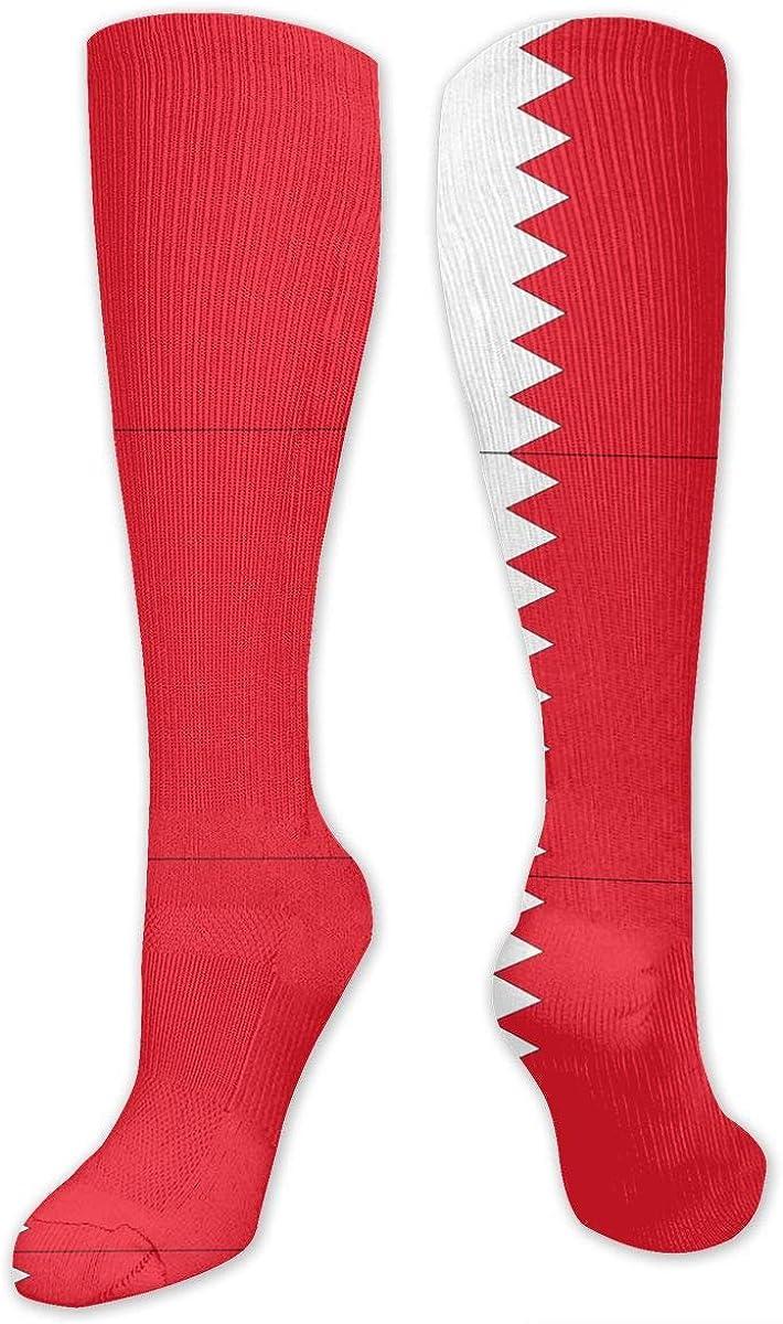 Bahrain Flag Printed Crew Socks Warm Over Boots Stocking Stylish Warm Sports Socks
