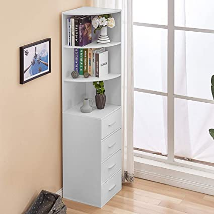 Huisen White Living Room Bookcase Storage Cabinet Corner Slimline Tall Bookcase With 4 Drawers Wood Bathroom Unit Cupboard Sideboard Cabinet For Small Space Amazon Co Uk Kitchen Home