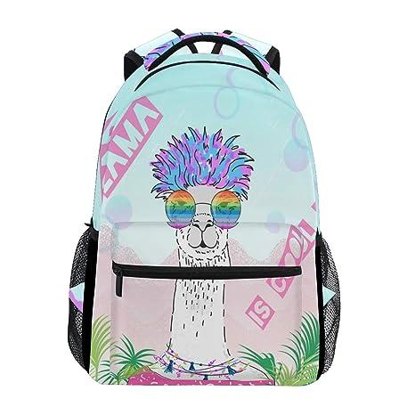 ca68fa7b18 Amazon.com  Cute Alpaca with Glasses Laptop Backpack