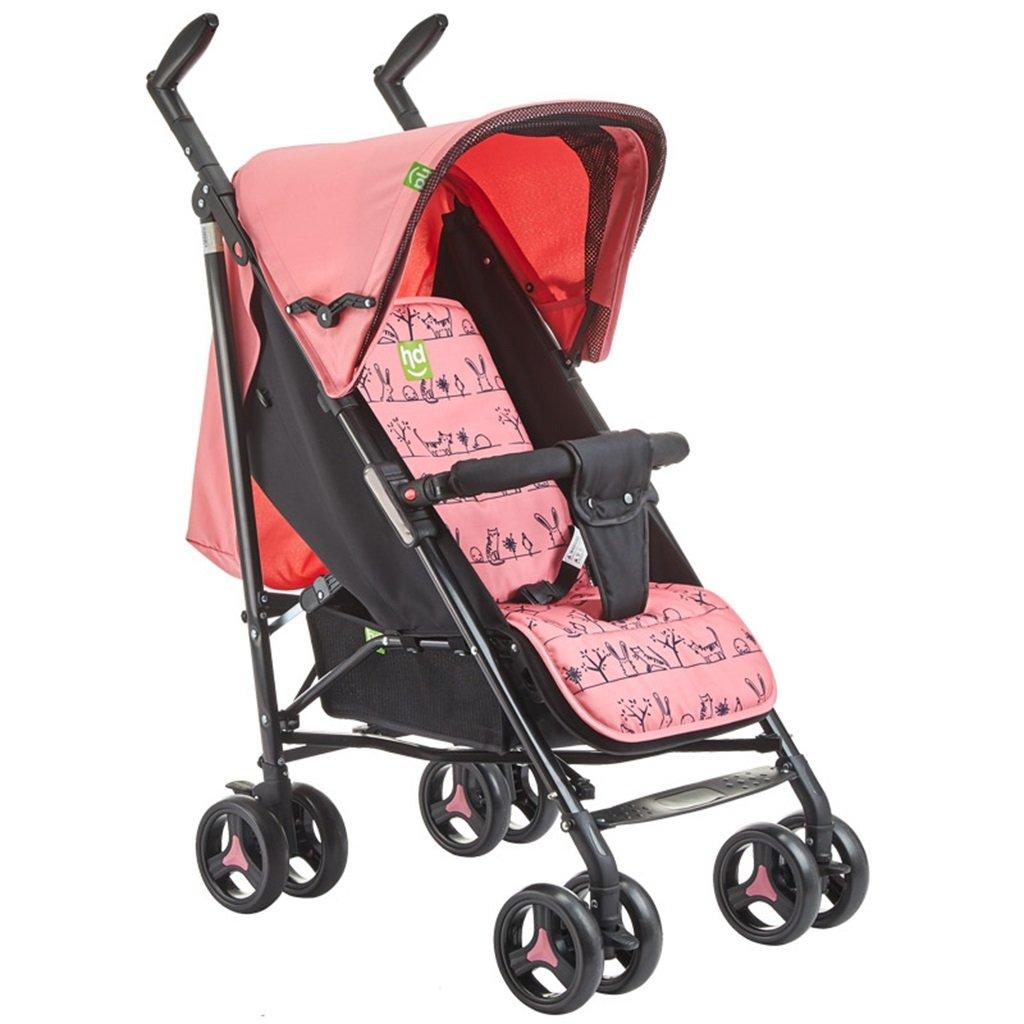 HAIZHEN マウンテンバイク ベビーカートは座る/軽い夏Foldable調節可能な日除けの日よけの衝撃吸収EVAの泡のタイヤベビーキャリッジ52 * 78 * 109cmを横たえることができる 新生児 B07DKX38XC ピンク ぴんく ピンク ぴんく