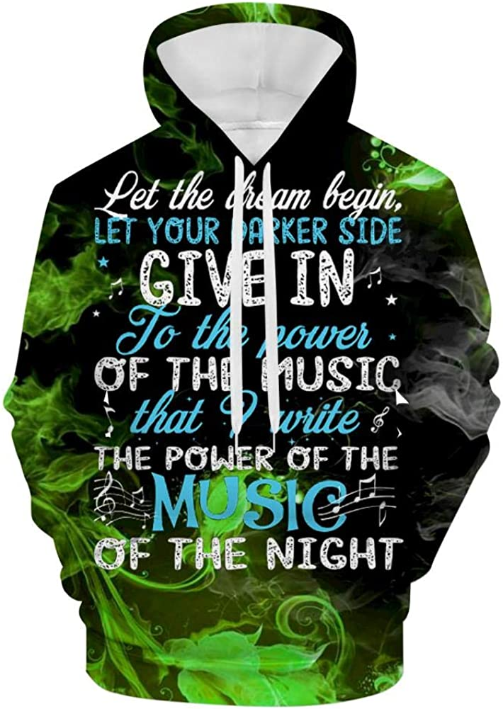 3D Mens Sweatshirt Hooded Music of The Night Casual Hoodies Sweater with Pocket Pullover Jacket