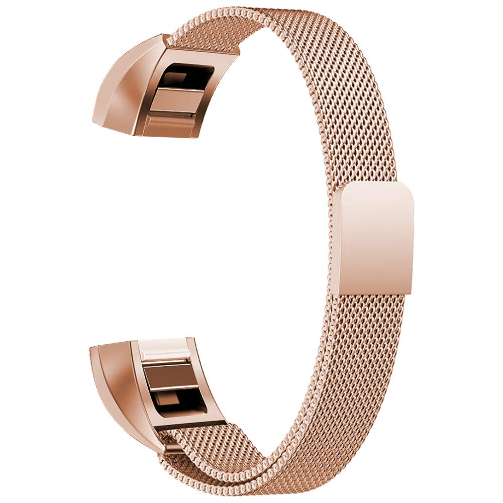 Oitom Fitbit Alta HR Accessory Bands and Fitbit alta Replacement Band, (2 Size) Large 6.7''-9.3'' Small 5.1''-6.7'' (8 Color) Silver Black Rose Gold Pink Blue Brown Rainbow (Small 5.1''-6.7'' Rose Gold)