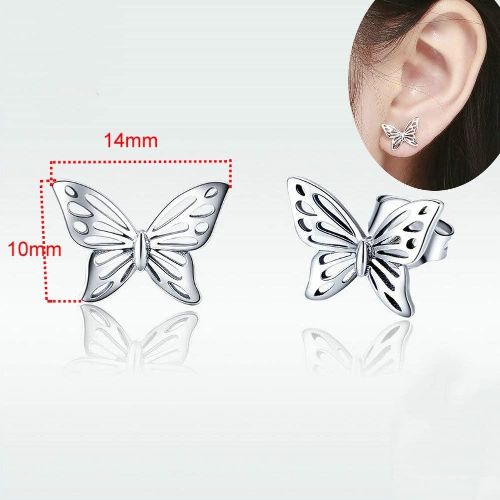 per donne e ragazze idea regalo per lei ipoallergenici in argento Sterling S925 e piccole farfalle alla moda Orecchini a perno in filigrana vintage a forma di farfalla