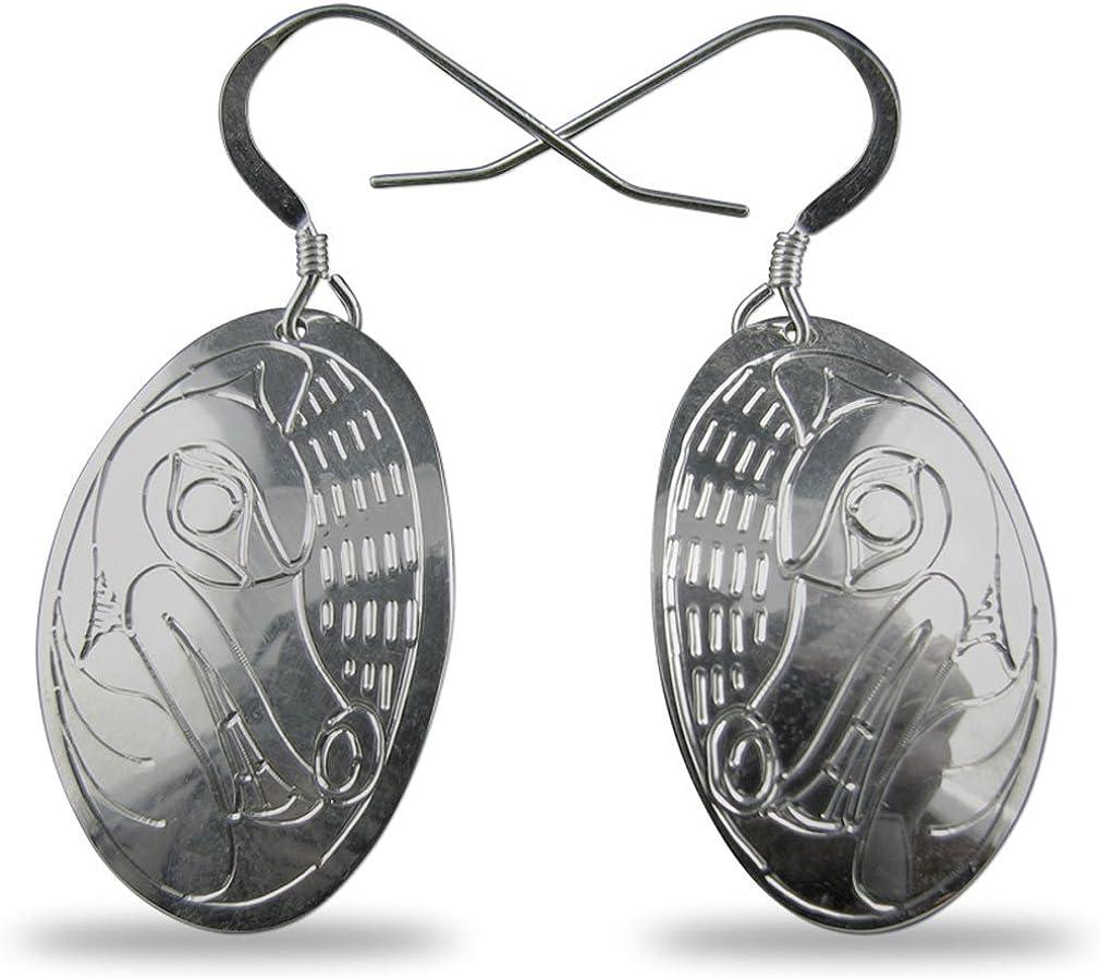 Northwest Coast Sterling Silver Wolf Earrings