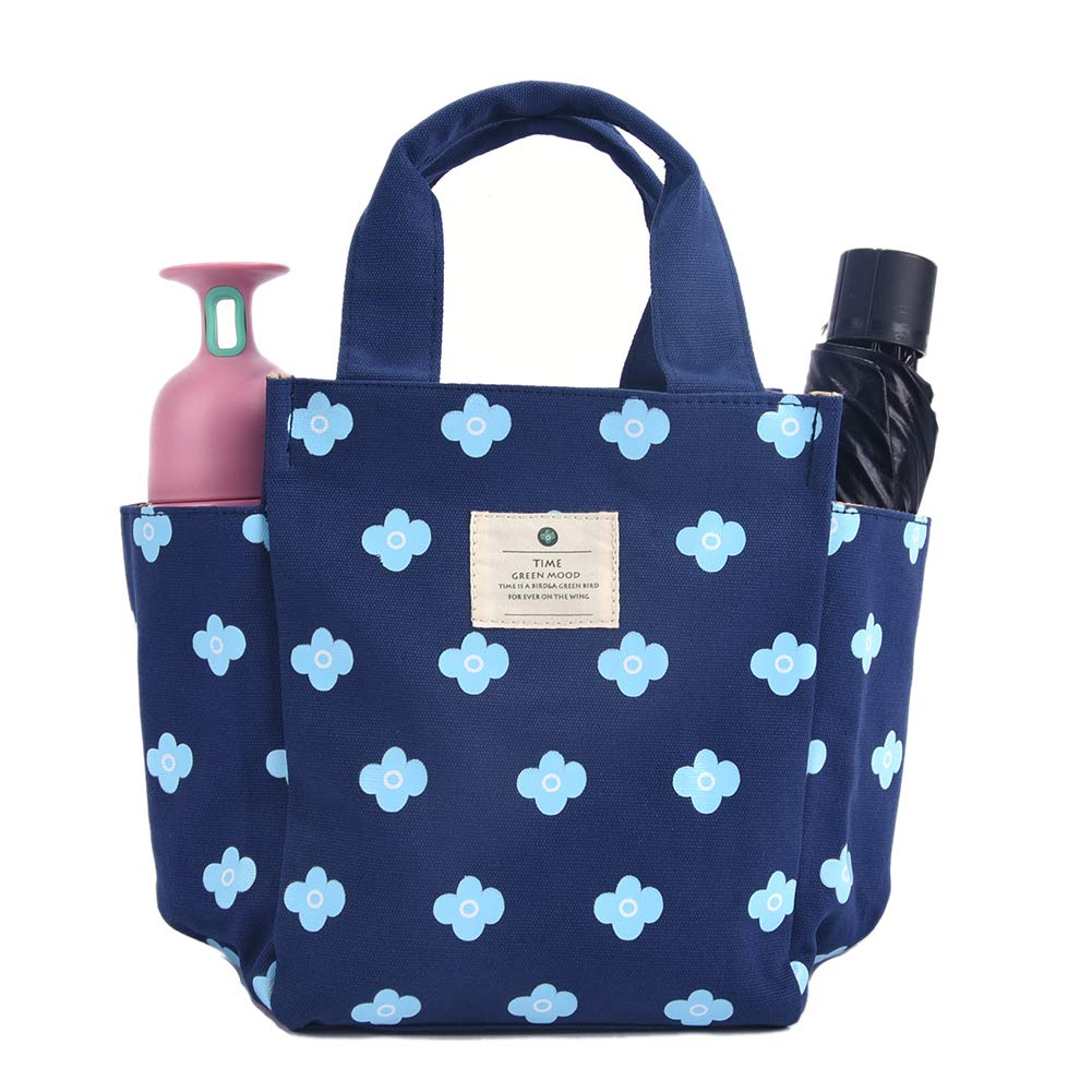 2552318b865f Small Lunch Bag Box Tote Handbag with Water Bottle Holder for Women Mom  Snack Bag(Flower Print)