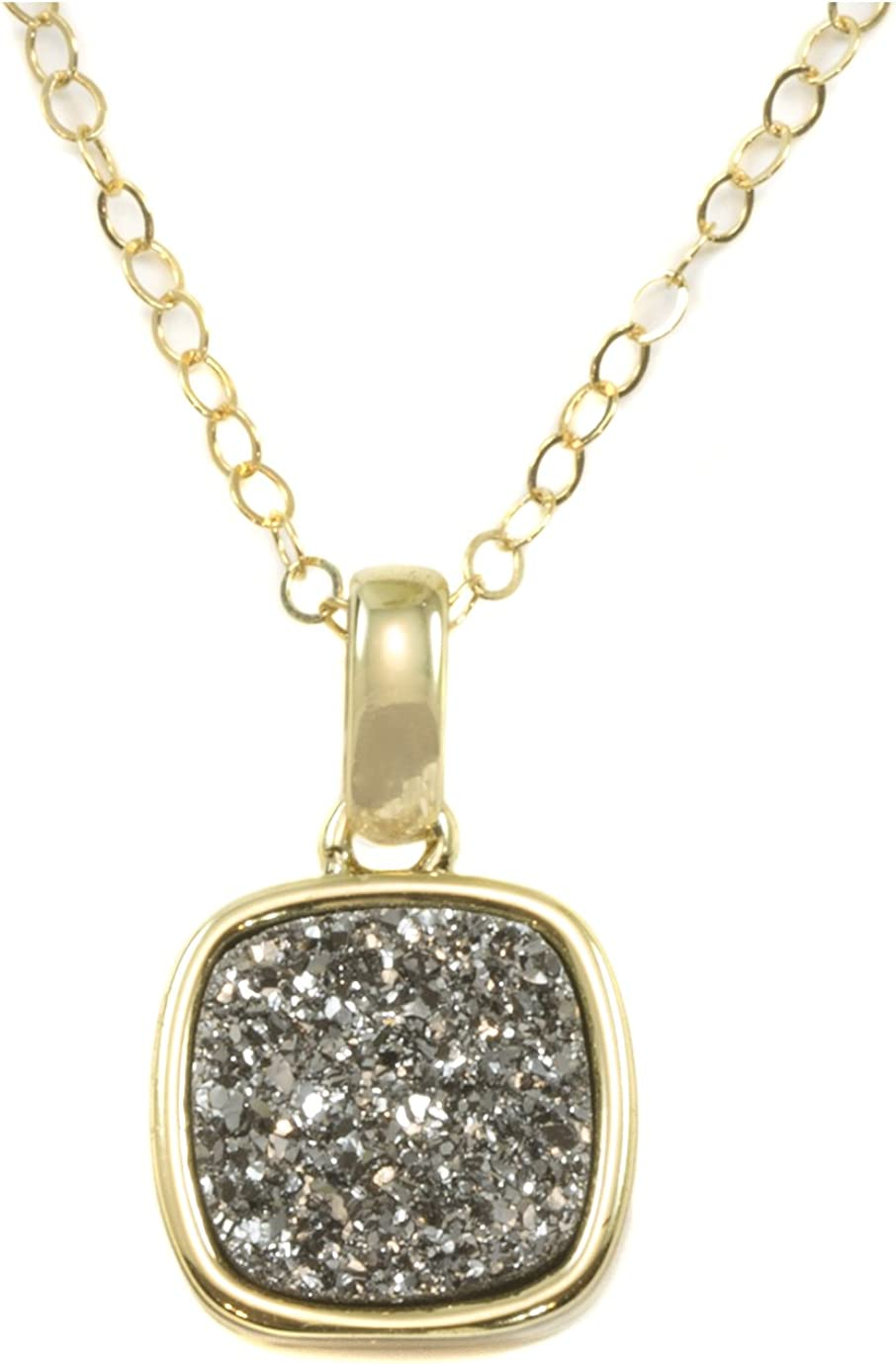 Spyglass Designs 14k Gold Filled Drusy Pendant Necklace Silvery Druzy Goldtone Thick Bezel Small Dainty 20