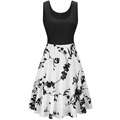 KILIG Women's Vintage Floral Sundress Sleeveless Flare Midi Dress Cocktail Party Tank Dress with Pockets at Women's Clothing store