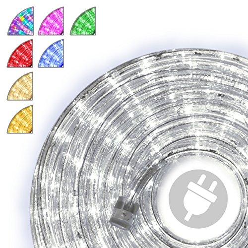10m LED Lichterschlauch Lichtschlauch kalt-weiß - Innen- und Außenbereich - energiesparende Leucht-Dekoration für Garten Fest Weihnachten Hochzeit Gesamtlänge ca. 11,50 m