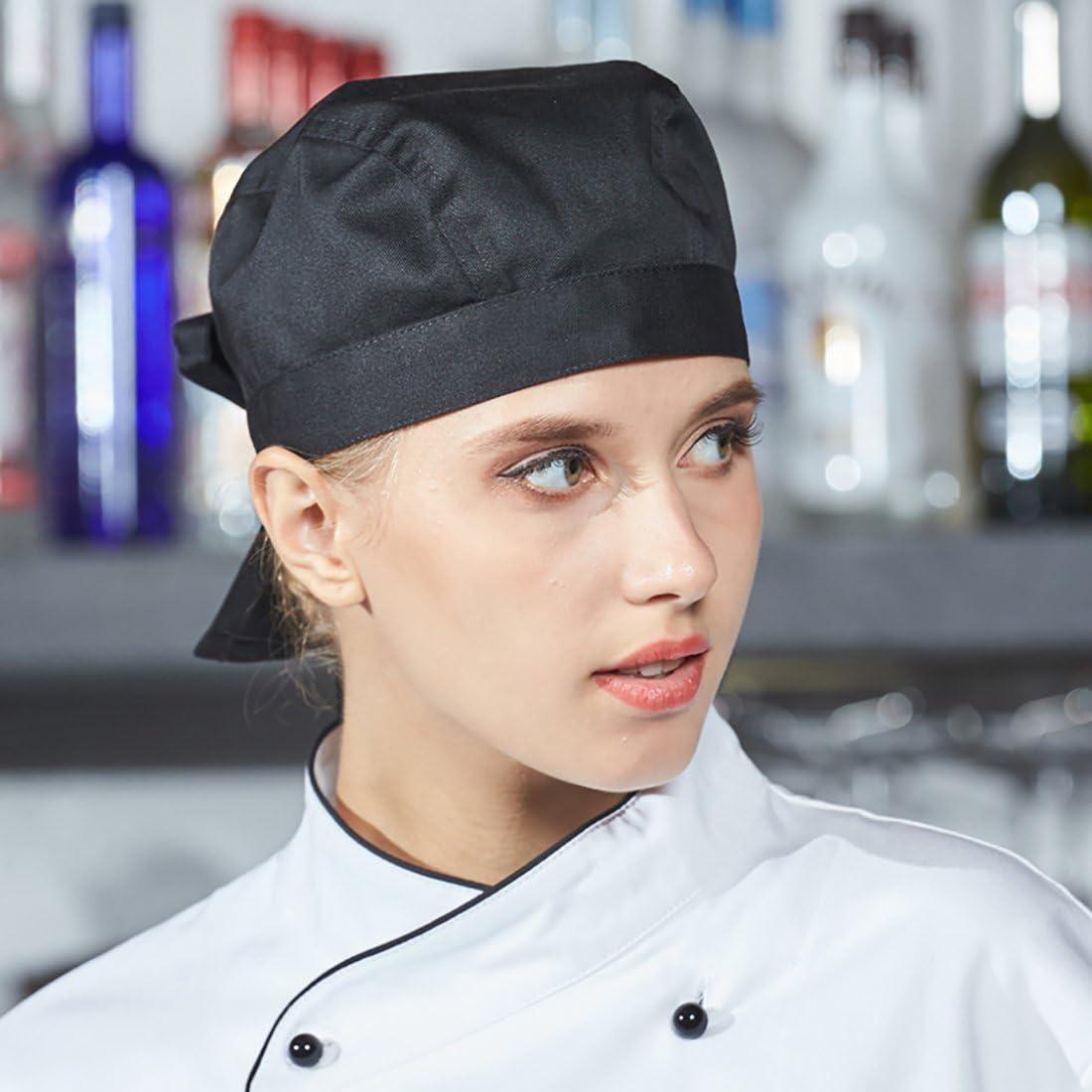 LISSOMPLUME Unisexe Toque Bandana De Cuisine Chef Femme Bandana Chapeau De Cuisinier Homme