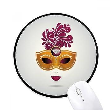 DIYthinker Máscara de Carnaval feliz feminidad De Venecia Ronda antideslizante tapetes de ratón Negro Titched Bordes