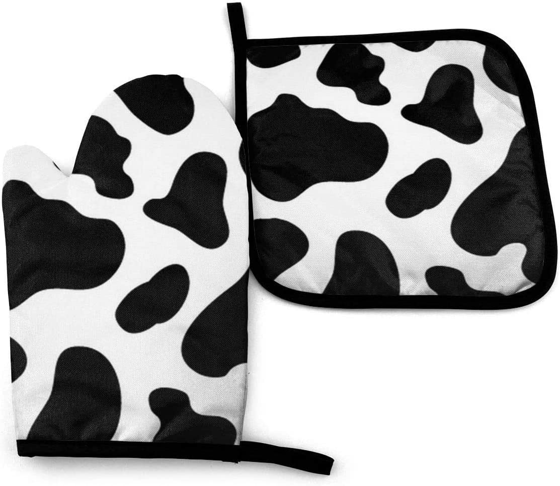 NA Oven Mitt & Pot Holders Set,Cow Spot Kitchen Heat Resistant and Washable for Cooking Baking Grilling and Cooking Decorative Baking Kitchen Gift
