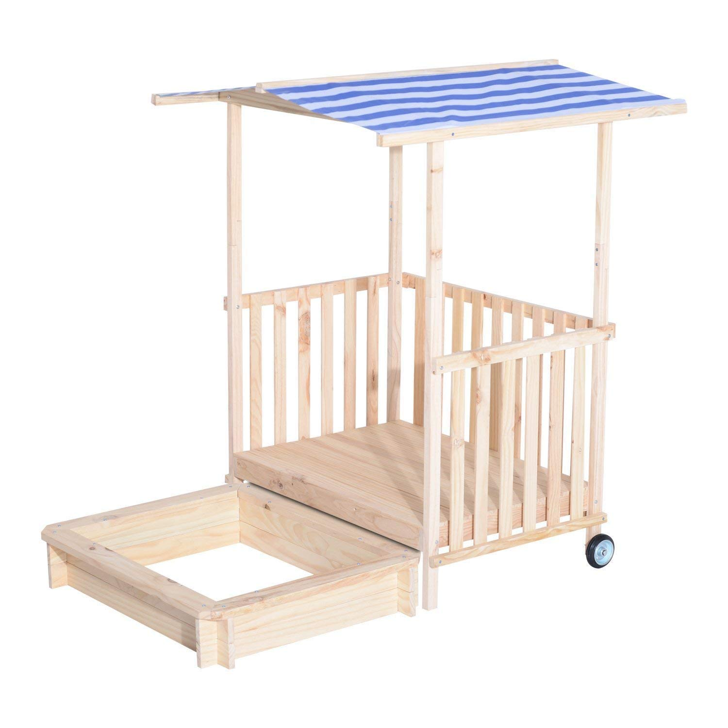 "Clearance Qaba Wooden 41"" Kids Outdoor Retractable Playhouse Rolling Backyard Fort Beach Cabana with Sandbox and Canopy Aosom Canada"