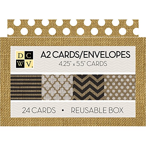American Crafts Printed Burlap DCWV Boxed A2 Cards W/Envelopes 24/Pkg, 4.375