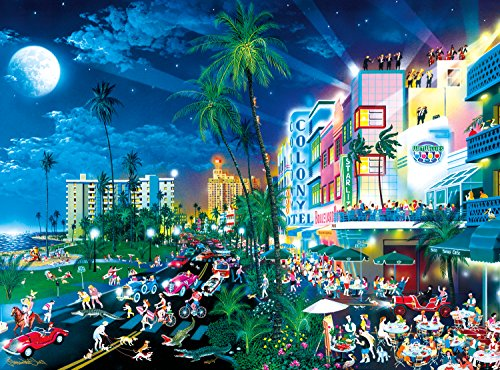 Buffalo Games - Alexander Chen - Cartoon World - South Beach Moonlight - 1000 Piece Jigsaw - Miami Outlets Fl