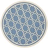 "Safavieh Courtyard Collection CY6916-243 Blue and Beige Indoor/ Outdoor Round Area Rug, 7 feet 10 inches in Diameter (7'10"" Diameter)"