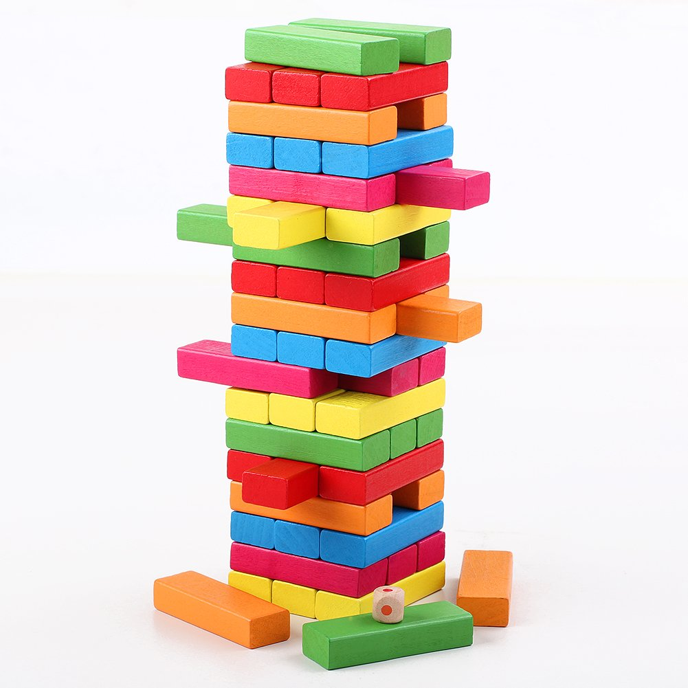 QZM Wooden Stacking Games Hardwood Blocks Tumble Tower Building Toys Color Match 54 Pieces