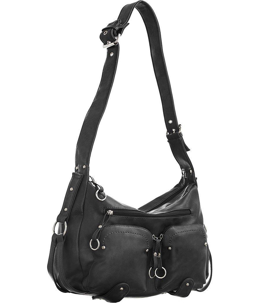 Utilitarian Shoulder Bag Black Large Women's Hobo Handbags