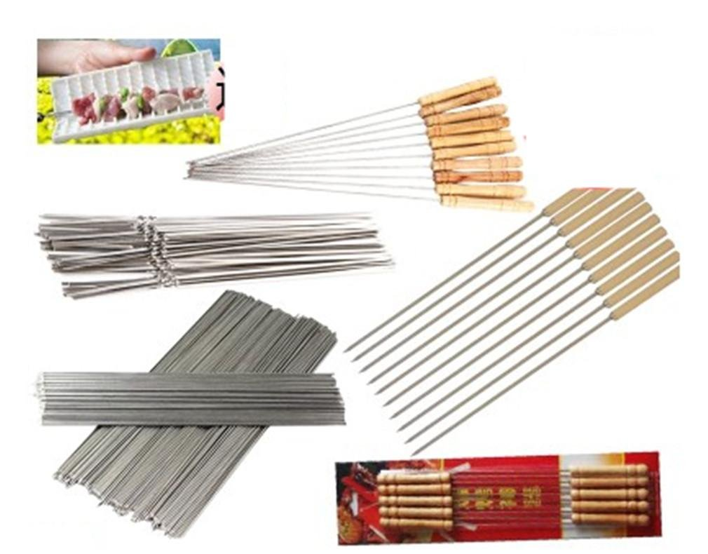 BBQER-A Home BBQ Barbecue Nadeln Home Outdoor mit Stailless Steel Flat Spieß mit Holz Hand voll Set BBQ Tools