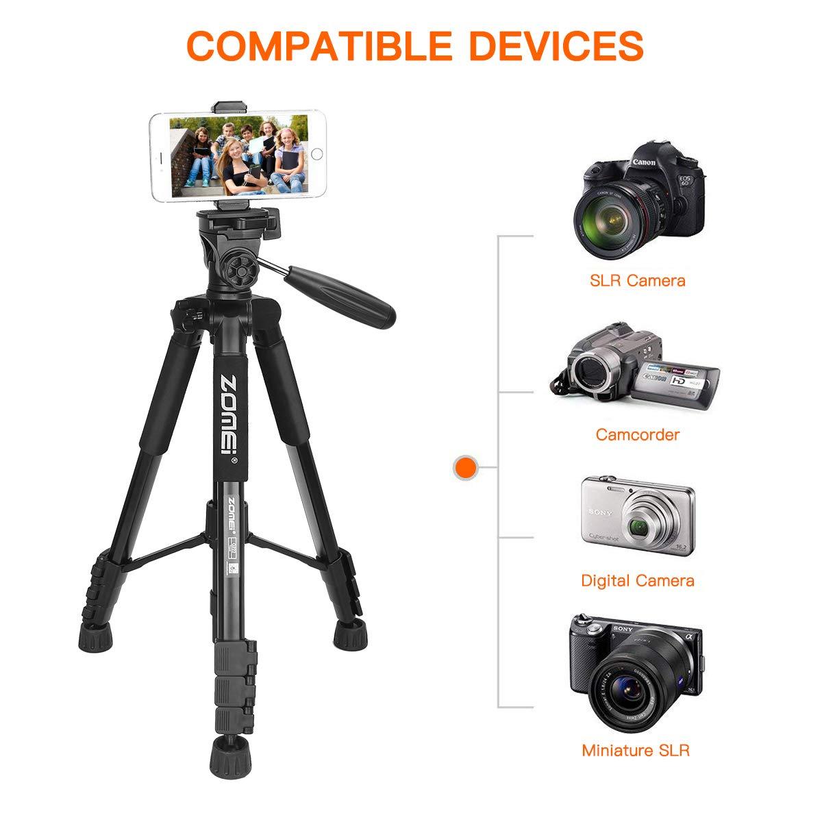 ZOMEi Travel Tripod 2-in-1 Aluminum Alloy Camera Tripod Portable Monopod for DSLR Canon Nikon Sony SLR, Phone Video and DV Video Camcorder