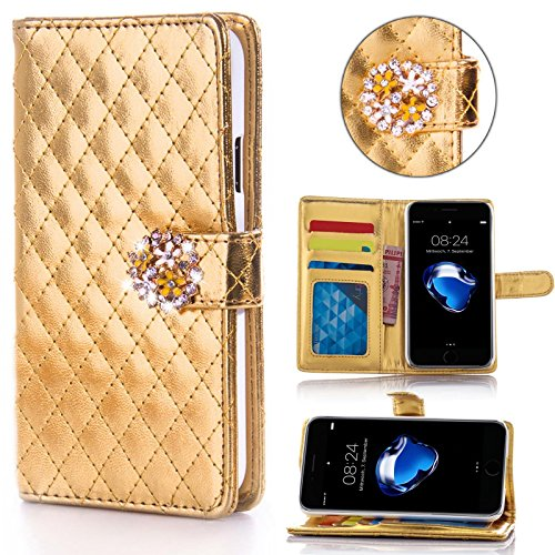 Book Style Design Handy Tasche Karo Metallic mit Visitenkartenfunktion und Strassblumen applikation Flip Cover Schutz Hülle Schale Klapp Etui Case Modern Bag für Apple iPhone 5 5S in Gold