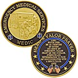 Hero's Valor Emergency Medical Services Medic Challenge Coin with Prayer 1-Pack (Single Coin)