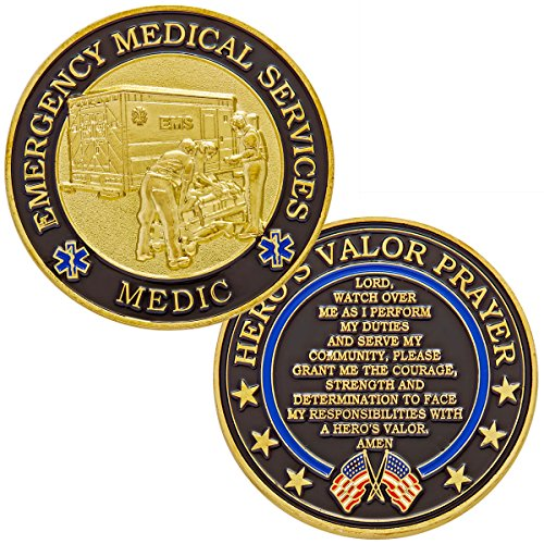 Hero's Valor Emergency Medical Services Medic Challenge Coin with Prayer 1-Pack (Single Coin) by Hero's Valor