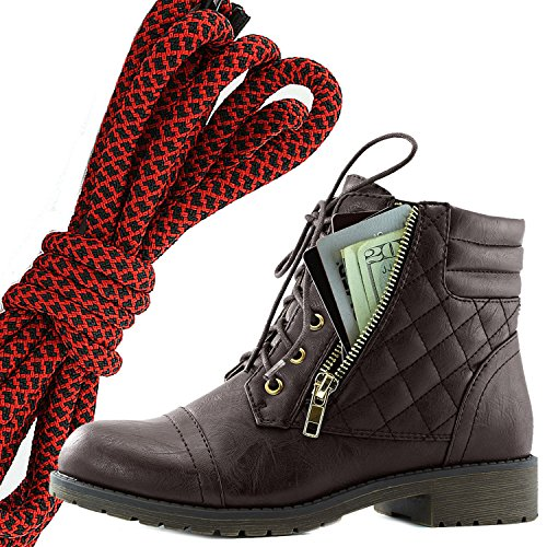 DailyShoes Womens Military Lace Up Buckle Combat Boots Ankle High Exclusive Credit Card Pocket, Red Black Brown Pu