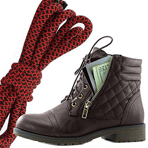 Dailyshoes Womens Militaire Lace Up Boucle Bottes De Combat Cheville Haute Exclusive Carte De Crédit Poche, Rouge Noir Brun Pu