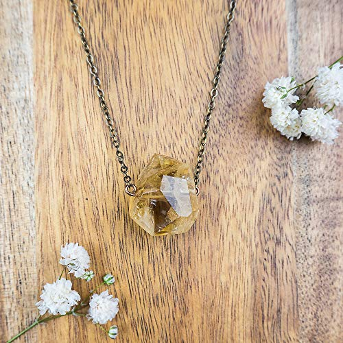 - Small citrine nugget crystal necklace in bronze - 16