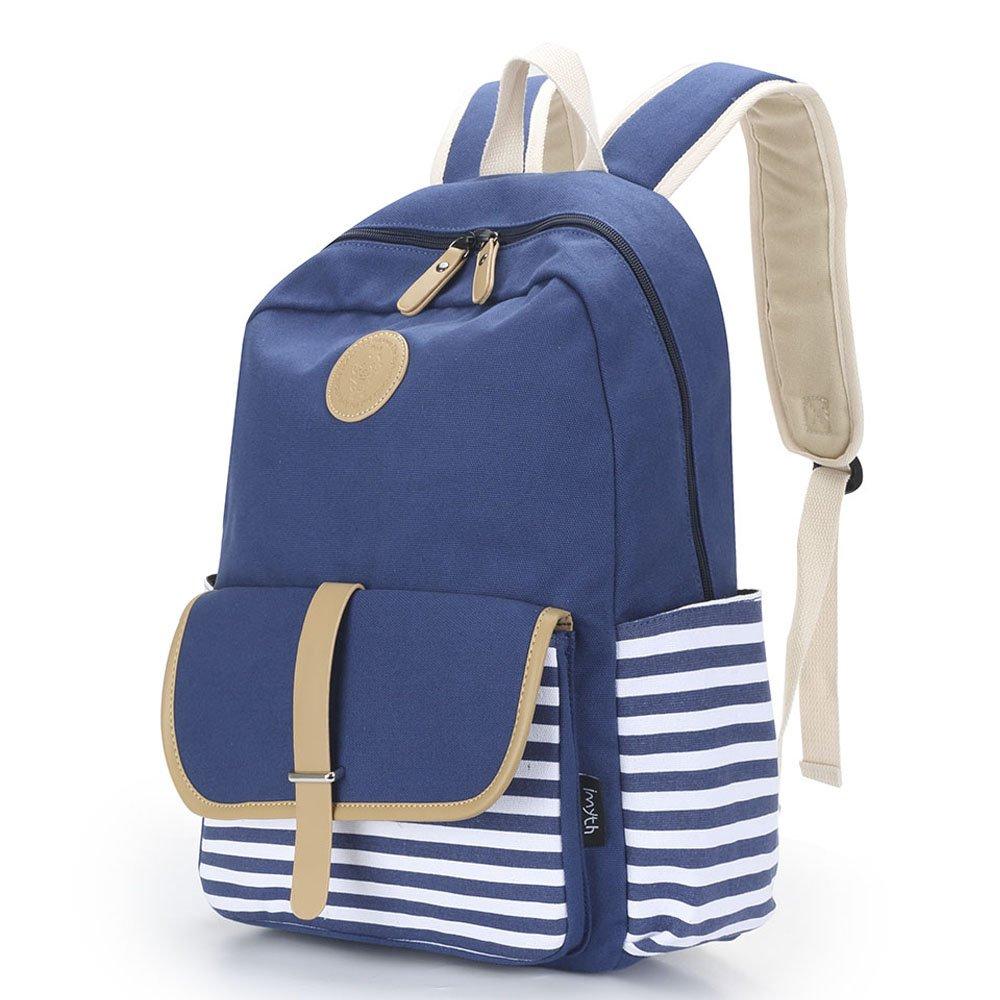 Imyth Upgraded Casual Canvas Backpacks Lightweight Book bag Shoulder Bag School Backpack for Students (Dark blue)