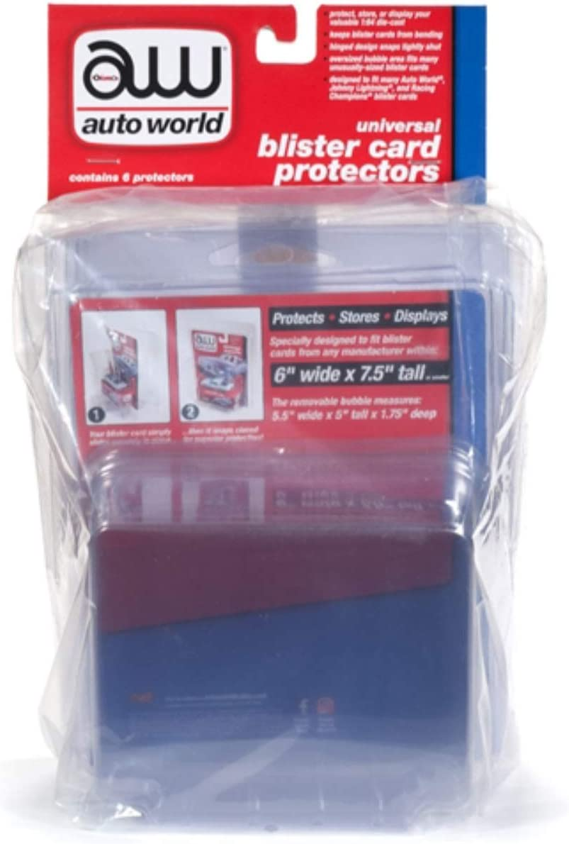 Universal Blister Card Protector 6 Packs for 1/64 Scale Models by Autoworld AWDC013