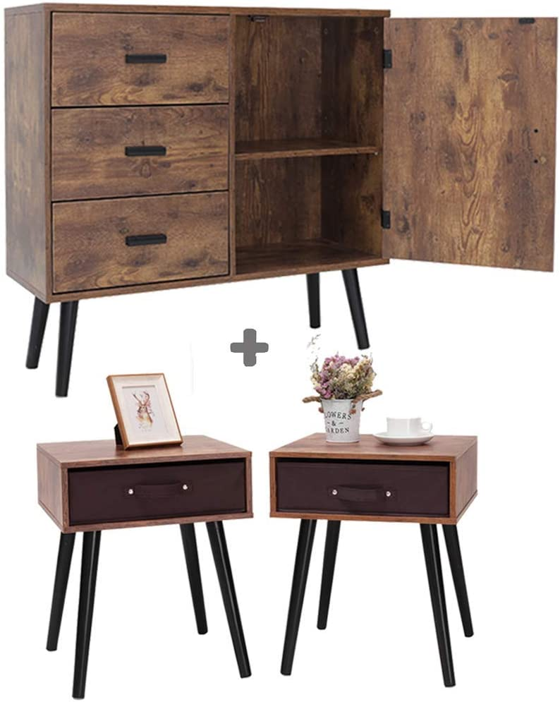 IWELL Mid-Century Modern Storage Cabinet & Nightstand Set of 2 Bundle, Sideboard, Cupnoard, Drawer Dresser, 2 Piece Furniture for Living Room, Bedroom