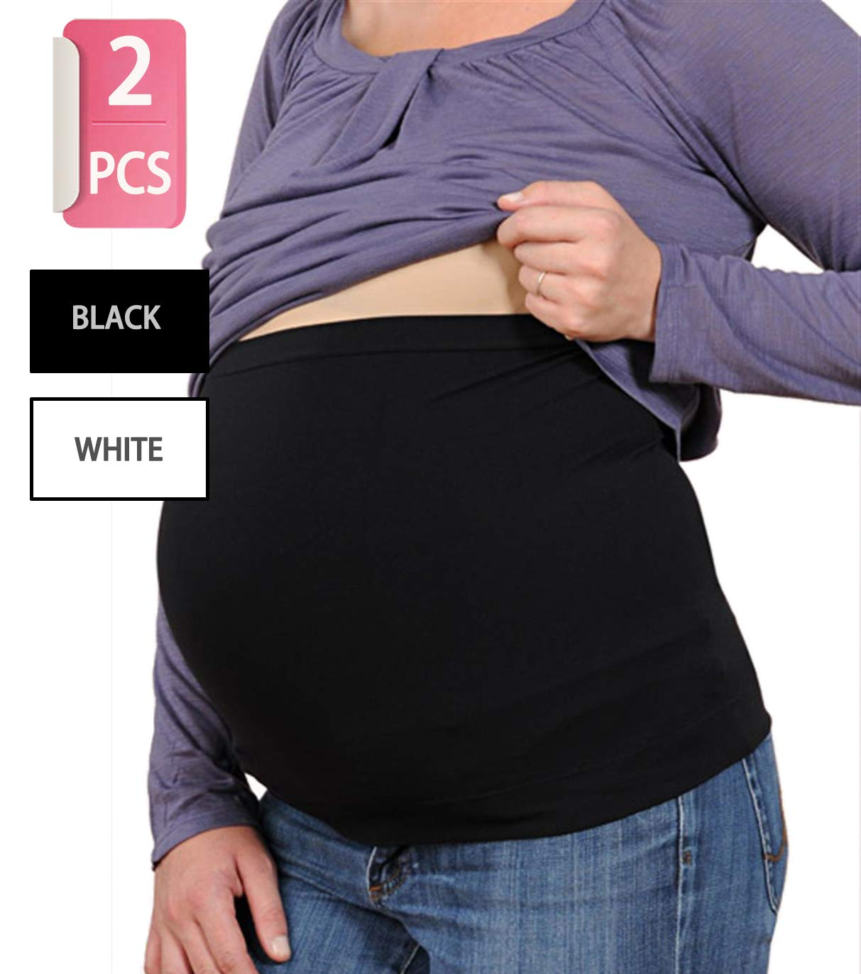 Womens Maternity Belly Band Seamless 2 Pack Everyday Support Bands for Pregnancy White,Black S