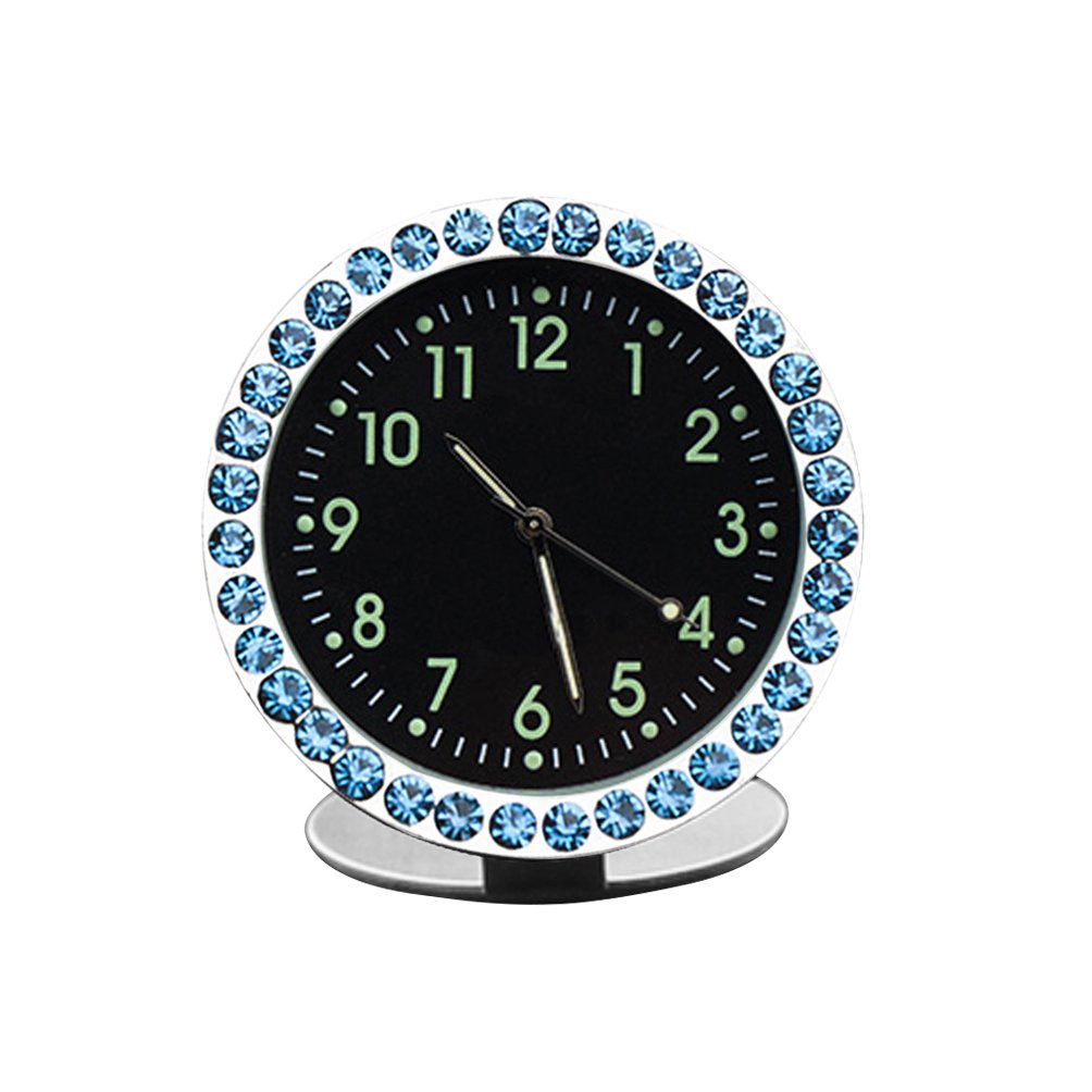 idain Car Dashboard Clock - Mini Vehicle Clock Decoration Air Vent Cilp (White, Point Luminous)