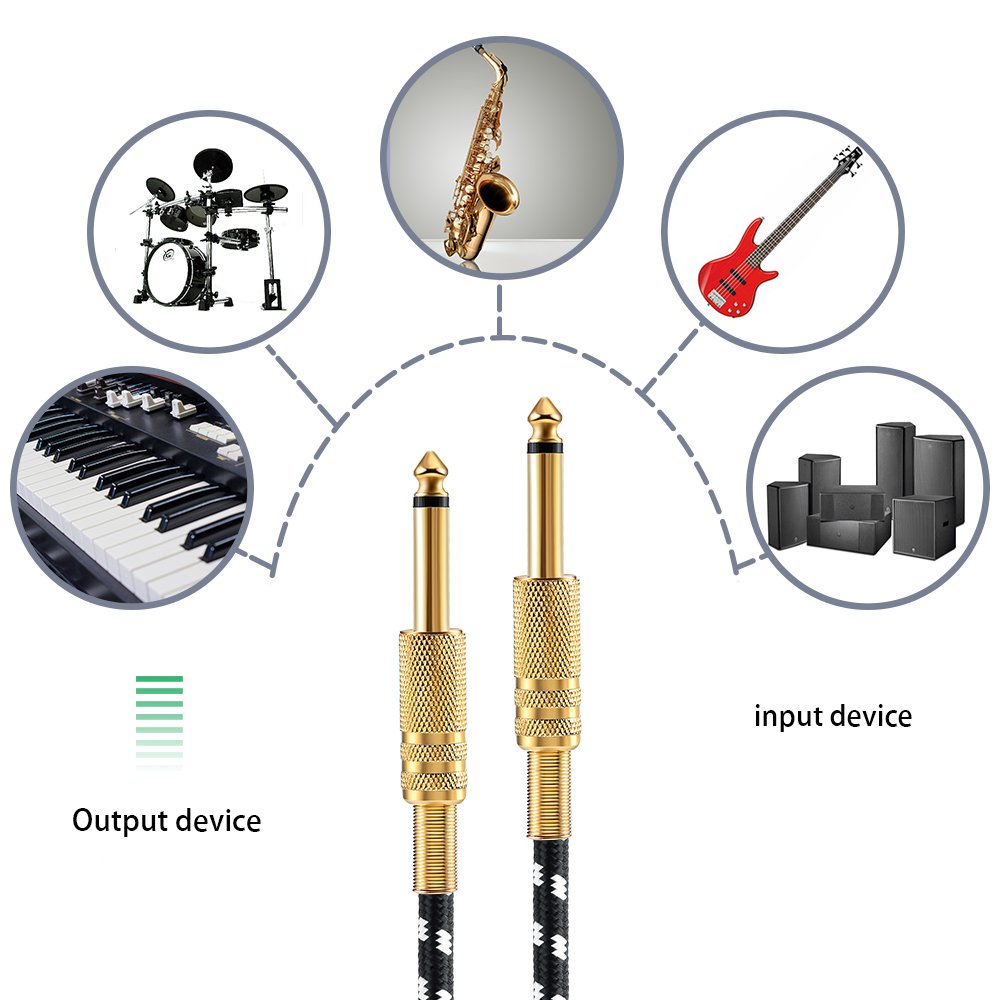 Electrics Guitar Instrument Cable Tuwejia 1/4-Inch Straight to Right Angle TS Unbalanced Instrument Cable Male to Male with Premium 6.35mm Mono Jack 1/4\