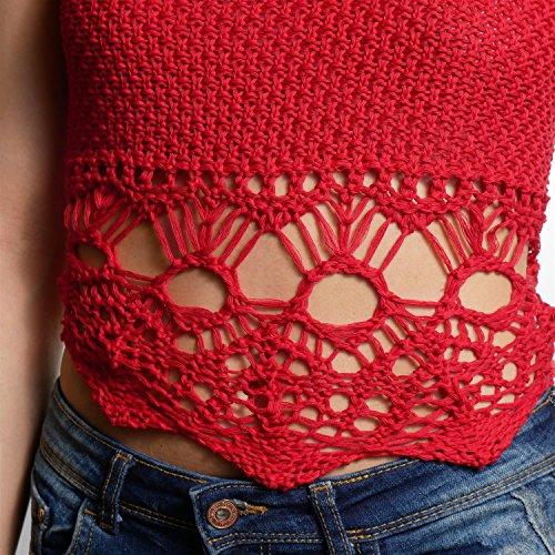 JUANA LA LOCA AND THE VICTORIANS - Mujeres Top de punto con calado en bajo crop anudado a cuello y espalda con crochet Rojo