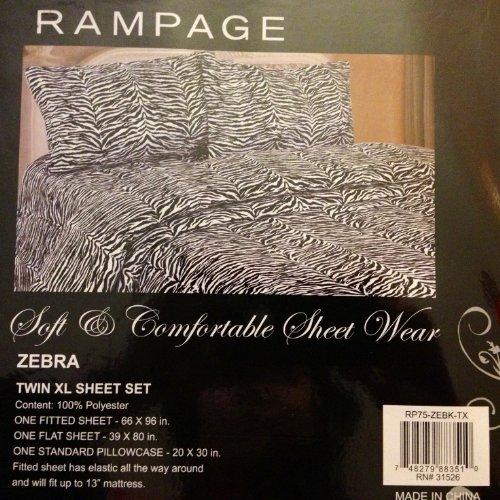(Rampage Twin XL Sheet Set Zebra)
