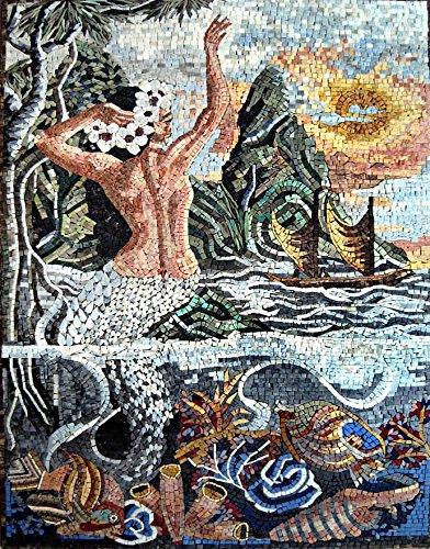 Mozaico - Stunning Mermaid Scene Mosaic Artwork Design Mural Decorative Tiles MS164 by Mozaico