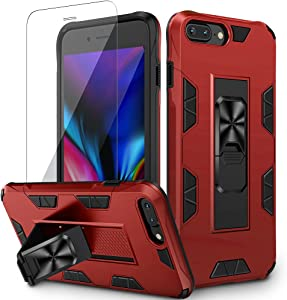 VEGO Compatible for iPhone 8 Plus Case, Built-in Hidden Kickstand Magnet Military Grade Shockproof Stand Case with Tempered Screen Protector for iPhone 6 Plus 6s Plus 7 Plus 8 Plus 5.5 inch - Red