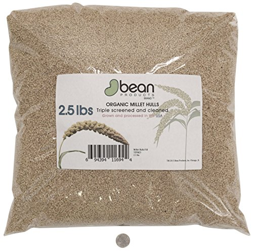 Millet Hull Pillows (Organic Millet Hulls by Bean Products Made in USA - 2.5 lbs)