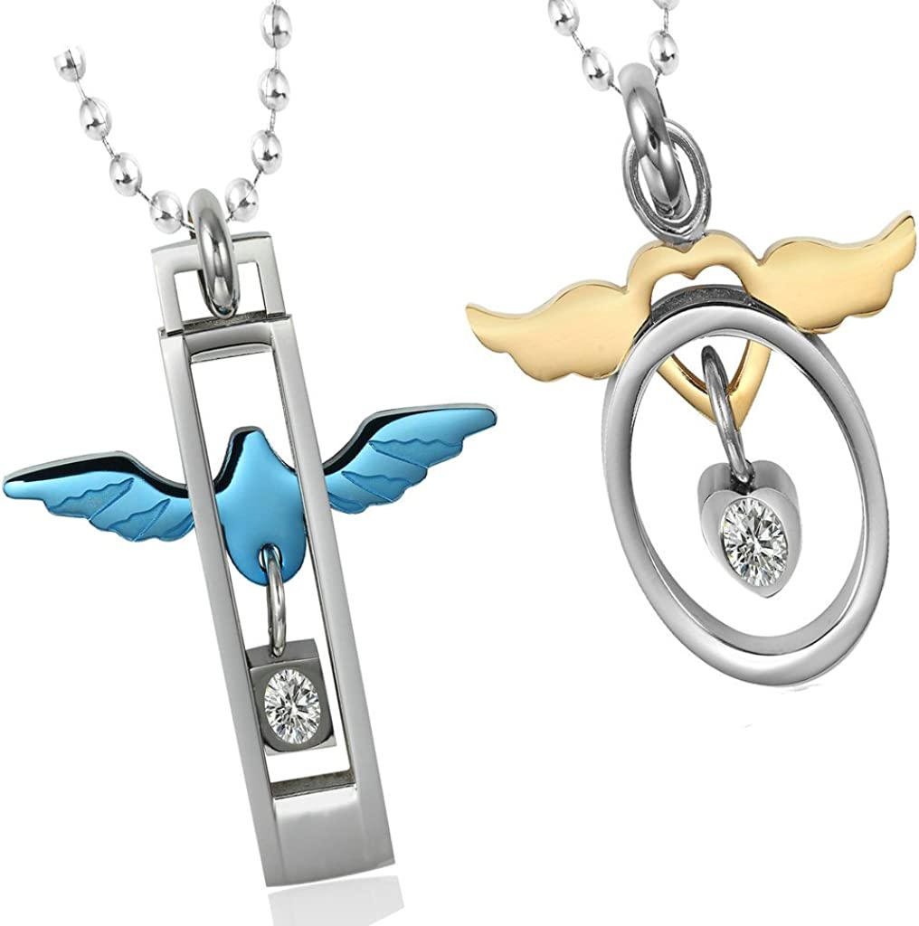 Epinki Stainless Steel Necklaces, Women's Chain Pendant Studded Circle Dove & Wing Heart