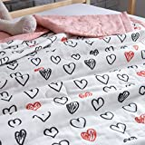 J-pinno Boys & Girls Sweet Love Muslin Quilt Comforter Bedding Coverlet, 100% Long Staple Cotton, Throw Blanket Twin/Full for Kid's Bedroom Decoration Gift (Full 78'' X 90'', love)